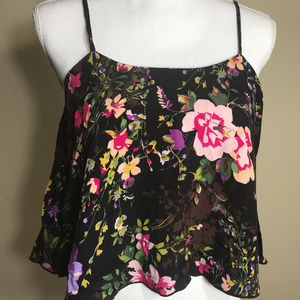 Free People Floral XS Rayon Tank Top